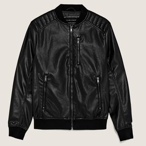 NWT Zara Faux Leather Bomber Jacket